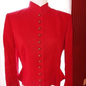 Ralph Lauren Red Linen Blazer Jacket 8